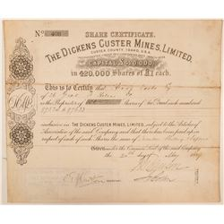Dickens Custer Mines Limited Stock Certificate  #100945
