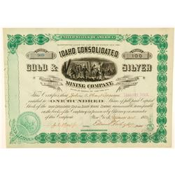 Idaho Consolidated Gold & Silver Mining Company Stock Certificate  #101574
