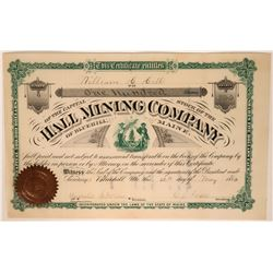 Hall Mining Co. of Bluehill, Maine Stock Certificate, 1880  #110038