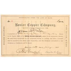 Rosier Copper Company Stock Certificate  #103497