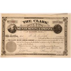 Clark Silver Mining Co. of Franklin, Maine Stock Certificate, 1880  #110044