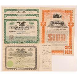 Sunlight Mines Company Stock Certificates  #104016