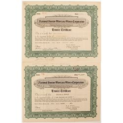 National Boston Montana Mines Corporation  Stock Certificates (2)  #52519