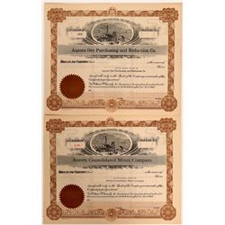 Two Unissued and Pristine Aurora, Nevada Mining Stocks  #109162