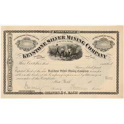 Keystone Silver Mining Co. Specimen Stock Certificate  #91540