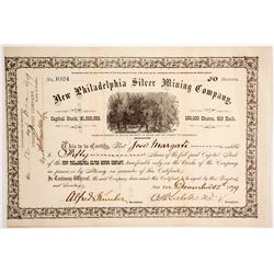 New Philadelphia Silver Mining Co. Stock Certificate, Belmont, NV, 1879  #62826