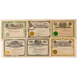 Six Different Cherry Creek, Nevada Mining Stock Certificates  #102163