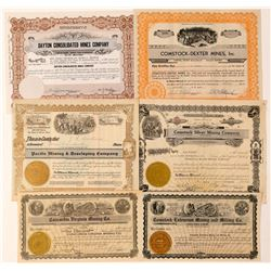 Six Comstock Mining Stock Certificates  #101610