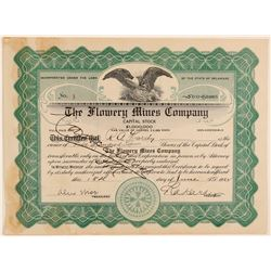 Flowery Mines Company Stock Certificate--Number 1  #102166