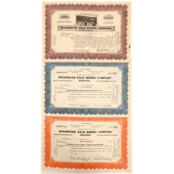 Spearhead Gold Mining Company Stock Certificates  #102175