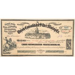 Union Consolidated Silver Mining Co. Stock Certificate to WS Hobart  #100877