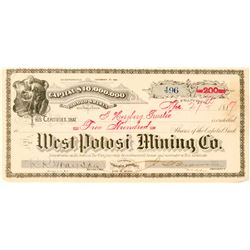 West Potosi Mining Company Stock Certificate  #91583