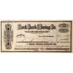 Rock Creek Mining Co. Stock, Elko County, Nevada, 1877  #110136