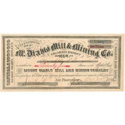 Mt. Diablo Mill & Mining Company Stock Certificate  #103504