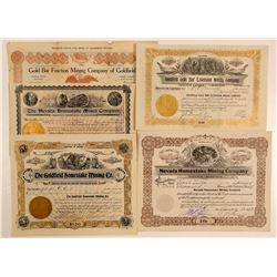 "Goldfield ""Gold Bar"" and ""Homestake"" Mining Stock Certificates  #102535"
