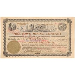 Milltown Mining Co. Stock to Horton & Signed by Wingfield  #102547