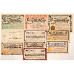 Ten Different Goldfield Mining Stock Certificates  #107089