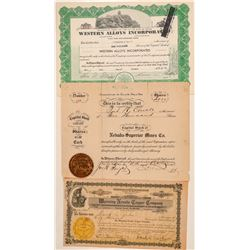 Three Humboldt County, Nevada Mining Stock Certificates  #101591