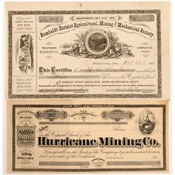Two Humboldt County, Nevada Mining Stock Certificates  #104442