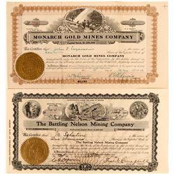 """Jumbo; Comstock Mining Stocks including one named for a boxer """"Battling Nelson""""  #109161"""