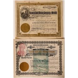 Kawich Stock Certificates - one with a green and a red underprint vignette  #109150