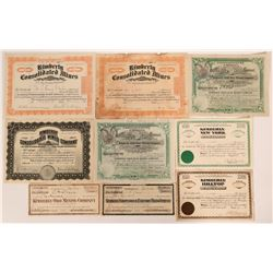 Kimberly, Nevada Stock Certificate Collection (9)  #110215