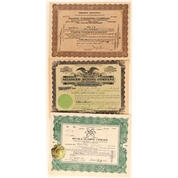 Three Different Lovelock Mining Stock Certificates  #101636