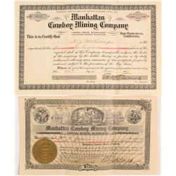 Two Different Manhattan Cowboy Mining Co. Stock Certificates  #56338