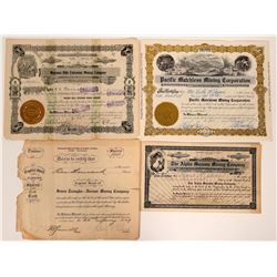Four Mazuma and Vernos Stock Certificates  #105983