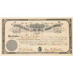 Continental Silver Mining Company Stock Certificate   #91746