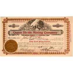 Queen Divide Mining Stock, Fancy for the Divide District  #110323
