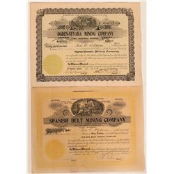 Two Stock Certificates from the Spanish Belt District, Nye County, NV.  #110145