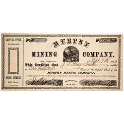 Murphy Mining Co. Stock Certificate Signed by Infamous Stage Operator  #91839