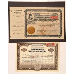 Rochester Mines Company Stock Certificate Pair  #107337