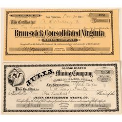 Two NIce Comstock Mining Stocks Includes Julia Cons. Mining Company- Rare  #110135