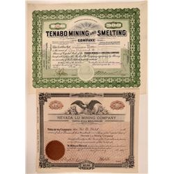 Two Different Tenabo, Nevada Mining Stock Certificates  #107661