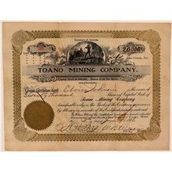 Toano Mining Company Stock Certificate  #107662