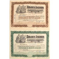 Two Different Golden Anchor Mining Company Stock Certificates  #56339