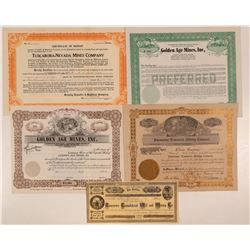 Five Tuscarora, Nevada Mining Stock Certificates  #107677