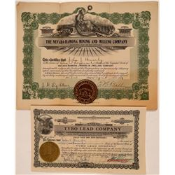 Two Different Tybo, Nevada Mining Stock Certificates  #107663
