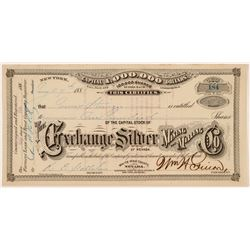 Exchange Silver Mining & Milling Co. Stock Certificate  #107015