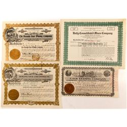 Four Nevada Stock Cert.  #84612