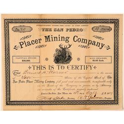 San Pedro Placer Mining Company Stock Certificate  #107754