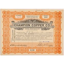 Champion Copper Co. Stock Certificate  #104288