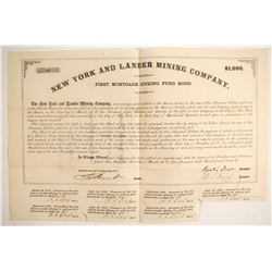 New York and Lander Mining Company Bond  #88113
