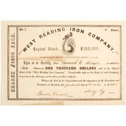 West Reading Iron Company Stock: Early Number 7  #81933