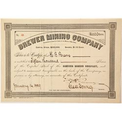 Brewer Mining Company Stock Certificate  #57326
