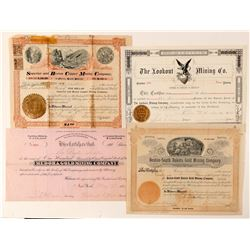 Four Different Black Hills, Dakota Mining Stock Certificates  #100784