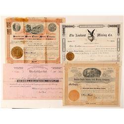 Four Different Black Hills, Dakota Mining Stock Certificates  #100784