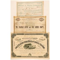 Three Different Black Hills, Dakota Mining Stock Certificates  #100772